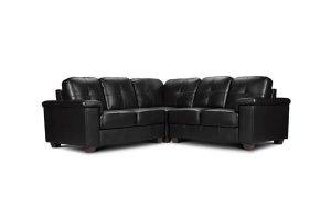 Belmont Black Leather Corner Sofa