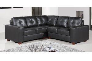 Paloma Black Leather Corner Sofa