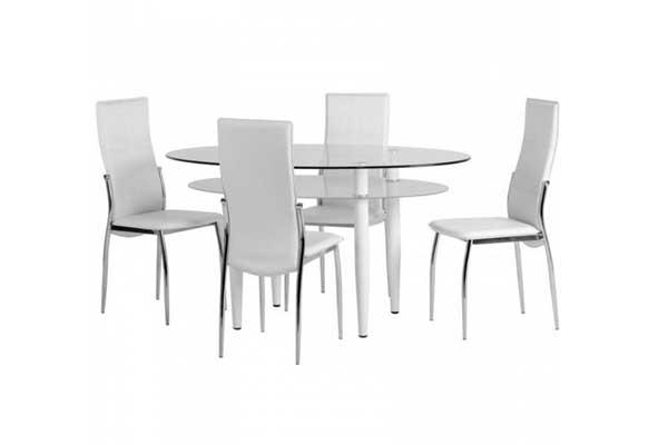 Stirling White Glass Dining Set