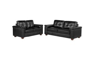 Belmont Black Leather 3 + 2 Seater Sofa's