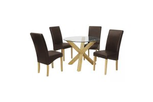 Mercury Dining Set with Brown Faux Leather Chairs