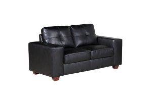 Paloma Black Leather 2 Seater Sofa