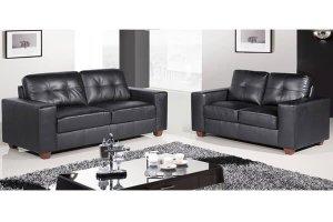 Paloma Black Leather 3 +2 Seater Sofa