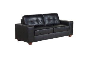 Paloma Black Leather 3 Seater Sofa