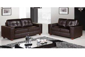 Paloma Brown Leather 3 +2 Seater Sofa