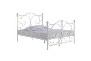 Romano White Metal Double Bed Frame