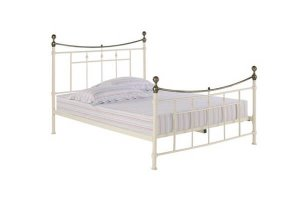 Royal Antique Cream Double Metal Bed Frame