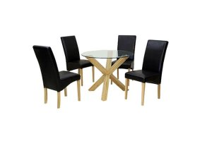 Mercury Dining Set with Black Faux Leather Chairs