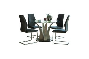 Sienna Dining Set with 4 Faux Leather Chairs