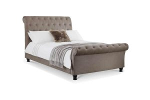 Veron Mink Fabric Double Bed Frame