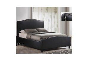 Berlin black leather bed frame