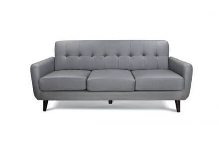 Anslo 3 Seater Grey Faux Leather
